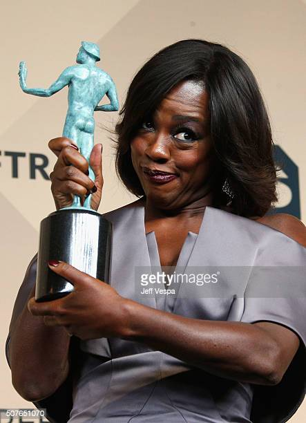 Actress Viola Davis winner of the Outstanding Performance by a Female Actor in a Drama Series award for 'How to Get Away with Murder' poses in the...