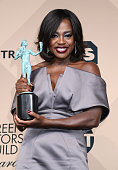 Actress Viola Davis winner of the Outstanding Performance by a Female Actor in a Drama Series award poses in the press room during the 22nd Annual...