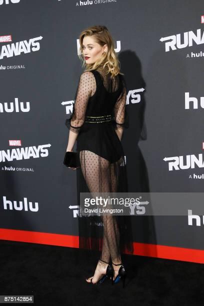 Actress Virginia Gardner arrives at the premiere of Hulu's 'Marvel's Runaways' at the Regency Bruin Theatre on November 16 2017 in Los Angeles...