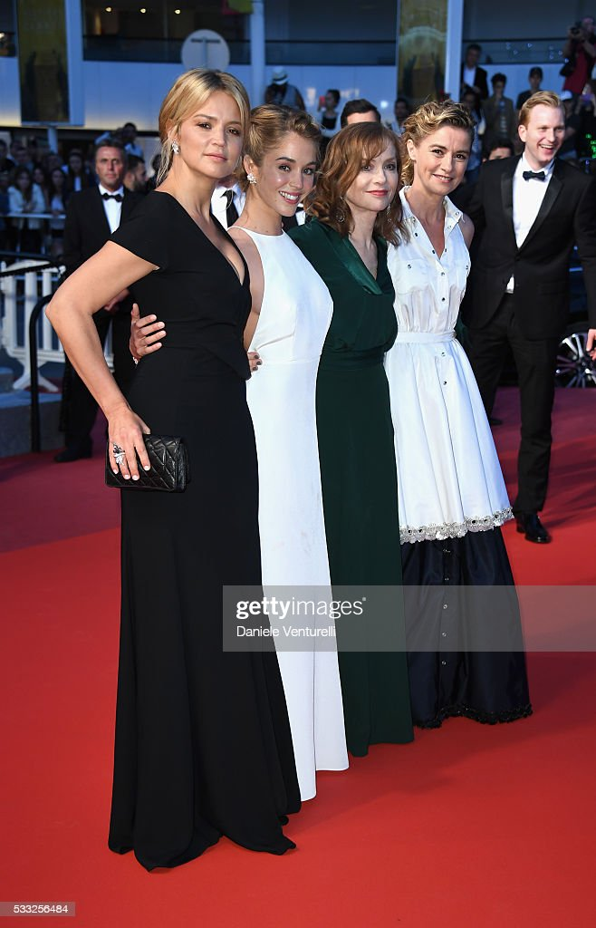 Actress Virginie Efira, actress Alice Isaaz, actress Isabelle Huppert and actress Anne Consigny leave the 'Elle' Premiere during the 69th annual Cannes Film Festival at the Palais des Festivals on May 21, 2016 in Cannes, France.