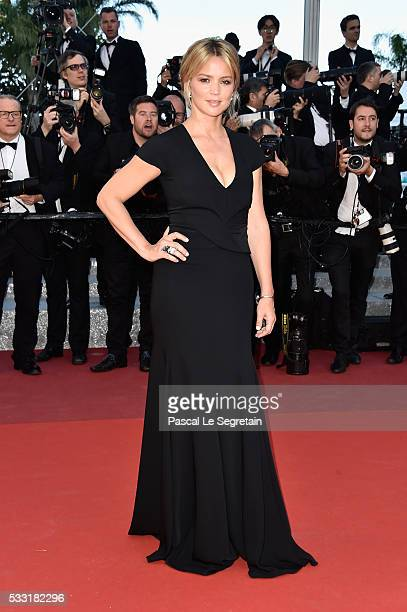 Actress Virginie Efira attends the 'Elle' Premiere during the 69th annual Cannes Film Festival at the Palais des Festivals on May 21 2016 in Cannes...