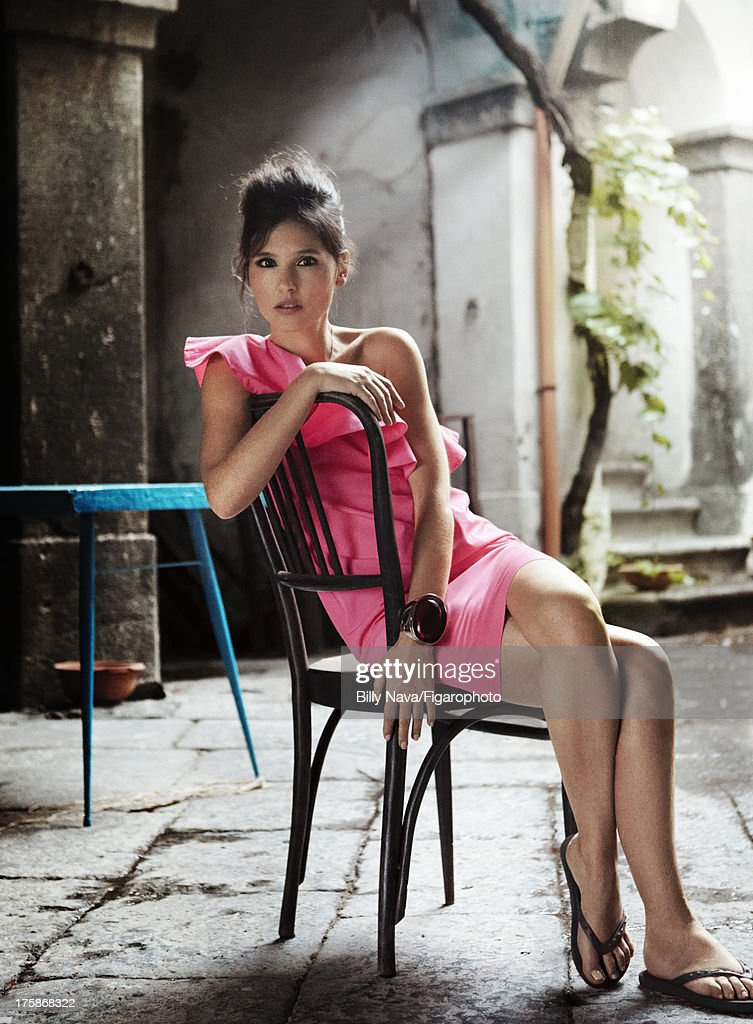 106843-006. Actress Virginie Ledoyen is photographed for Madame Figaro on July 12, 2013 in San Valentino Torio, Italy. Dress (Sinequanone), necklace (Thomas Sabo), cuff (Dior), flip flops (Tommy Hilfiger). Make-up by Sisley. PUBLISHED IMAGE.