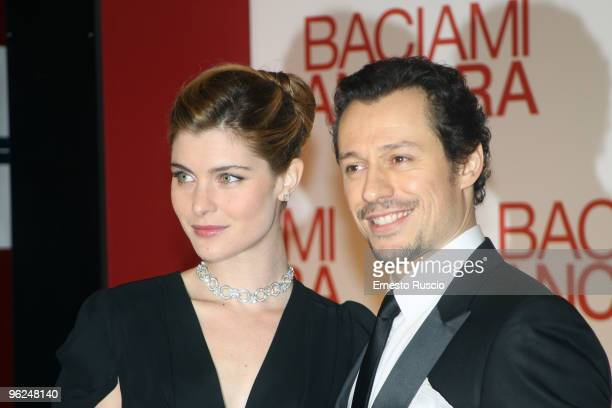 Actress Vittoria Puccini and actor Stefano Accorsi attend 'Baciami Ancora' premiere at Auditorium Della Conciliazione on January 28 2010 in Rome Italy