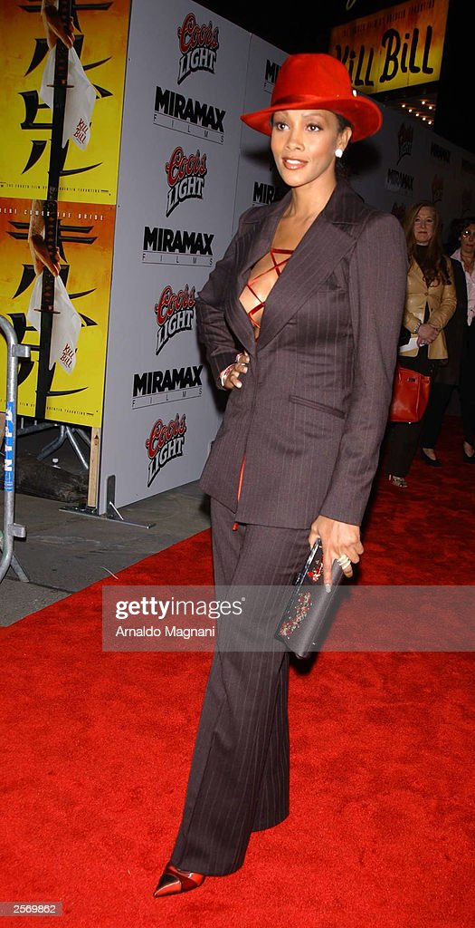 Actress Viveca Fox poses on the red carpet during the New York premiere of Quentin Tarantino's 'Kill Bill Vol. 1' at the Ziegfeld Theater October 7, 2003 in New York City.