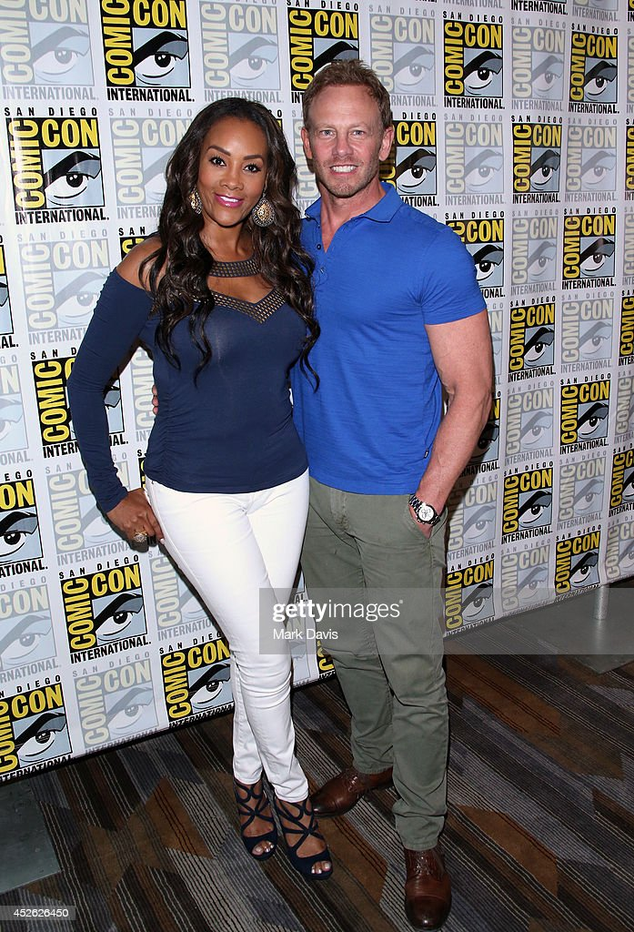 Actress Vivica A Fox and actor Ian Ziering attend the 'Sharknado The Second One' press line during ComicCon International 2014 at Hilton Bayfront on...