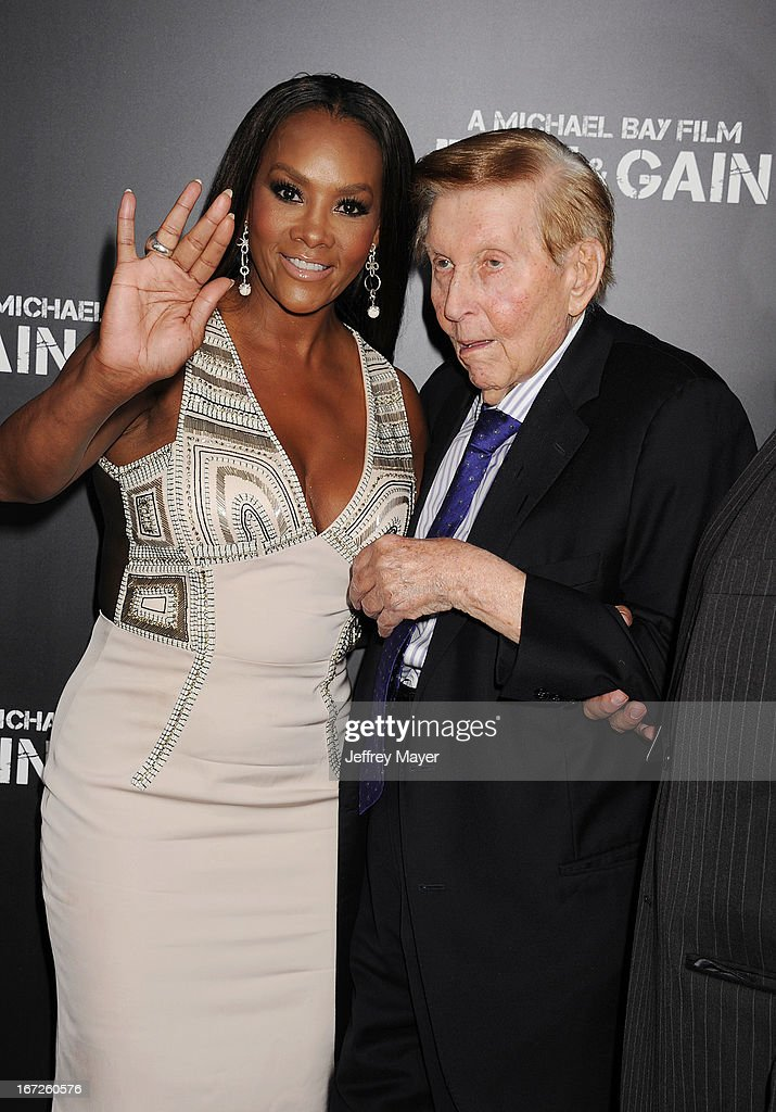 Actress Vivica A. Fox and Viacom Chairman Sumner Redstone attend the 'Pain & Gain' premiere held at TCL Chinese Theatre on April 22, 2013 in Hollywood, California.