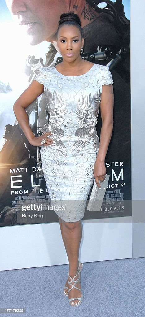 Actress Vivica A. Fox arrives at the Los Angeles Premiere of 'Elysium' on August 7, 2013 at Regency Village Theatre in Westwood, California.