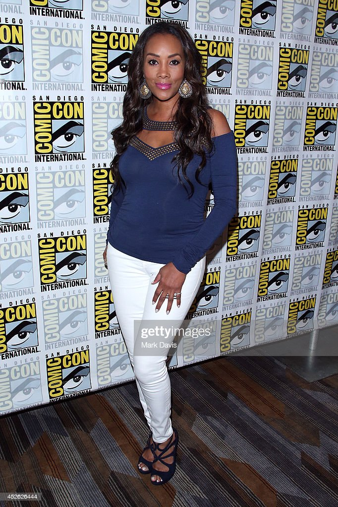 Actress Vivica A Fox attends the 'Sharknado The Second One' press line during ComicCon International 2014 at Hilton Bayfront on July 24 2014 in San...