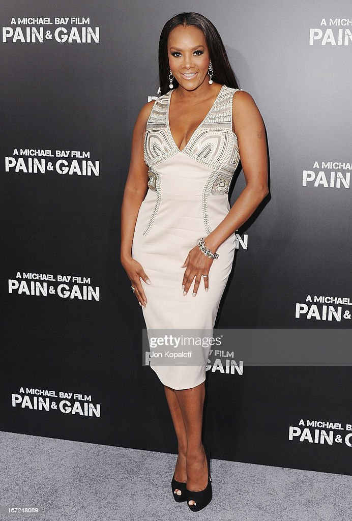 Actress Vivica Fox arrives at the Los Angeles Premiere 'Pain & Gain' at TCL Chinese Theatre on April 22, 2013 in Hollywood, California.