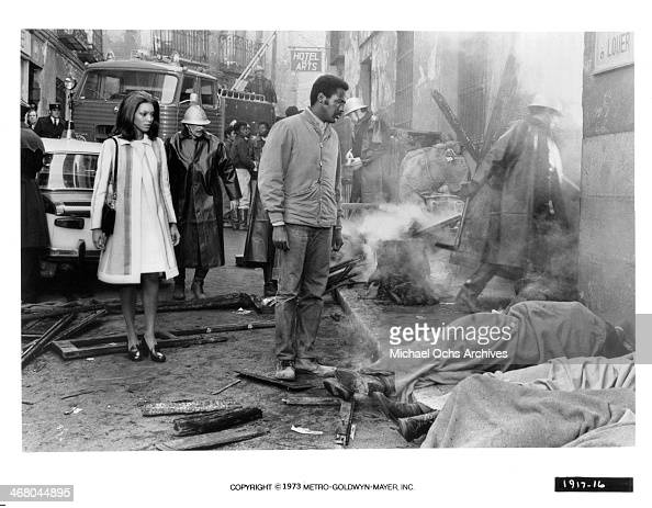 Actress Vonetta McGee and actor Richard Roundtree on set of the movie 'Shaft in Africa ' circa 1973