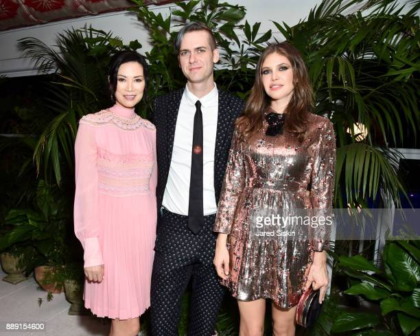 Actress Wendi Deng Murdoch Founder at Artsy Carter Cleveland and Businesswoman Dasha Zhukova attend the Gucci X Artsy dinner at Faena Hotel on...