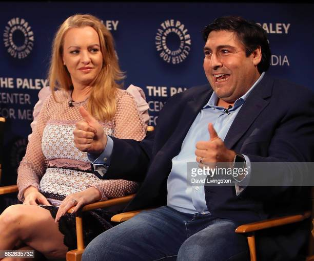 Actress Wendi McLendonCovey and executive producer Adam F Goldberg attend 'The Goldbergs' 100th episode celebration at The Paley Center for Media on...
