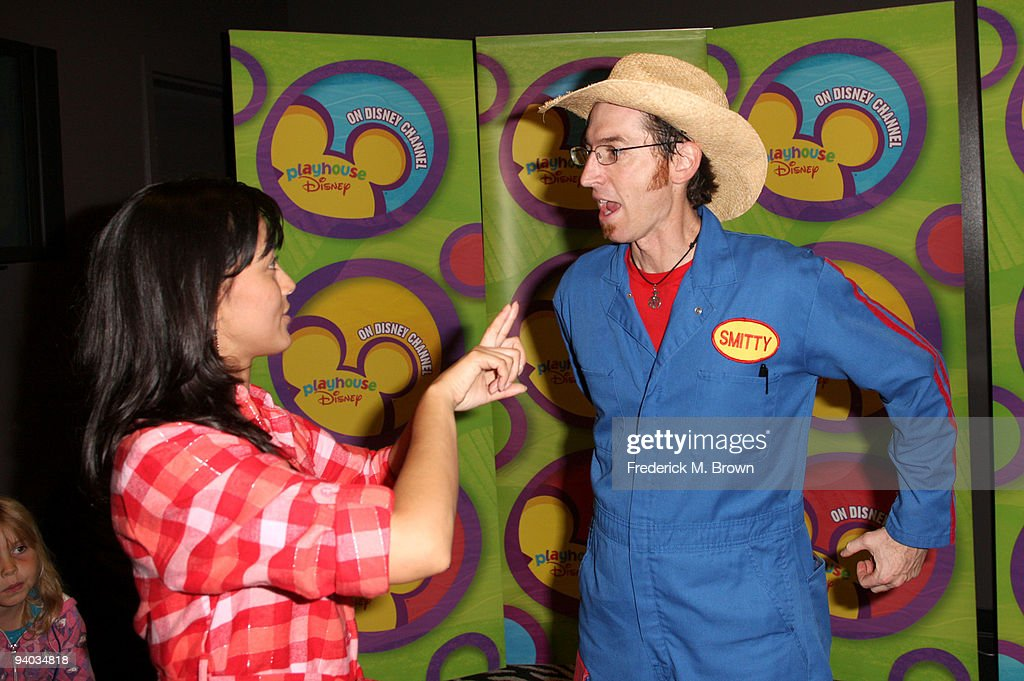Actress Wendy Calio and performer Scott Smith with Disney's Imagination Movers in Los Angeles during their first ever US concert tour at Club Nokia on December 5, 2009 in Los Angeles, California.