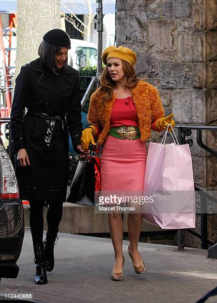 Actress Wendy Malick and actress Isla Fisher sighting filming a scene for the movie 'Confessions of a Shopaholic' April 15 2008 in New York City