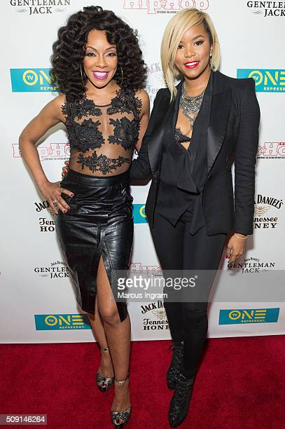 Actress Wendy Raquel Robinson and actress LeToya Luckett attend 'Here We Go Again' Premiere Celebration at Boogalou Lounge on February 8 2016 in...