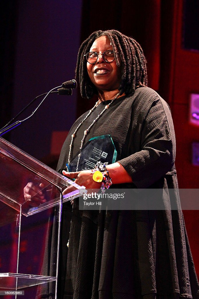 Actress Whoopi Goldberg accepts an award at The 2013 Greater New York Human Rights Campaign Gala at The Waldorf=Astoria on February 2, 2013 in New York City.