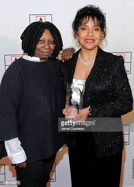 Actress Whoopi Goldberg and winner of the 2012 AMEE Award in Entertainment Phylicia Rashad attend the AFTRA Foundation's 2012 AFTRA Media and...