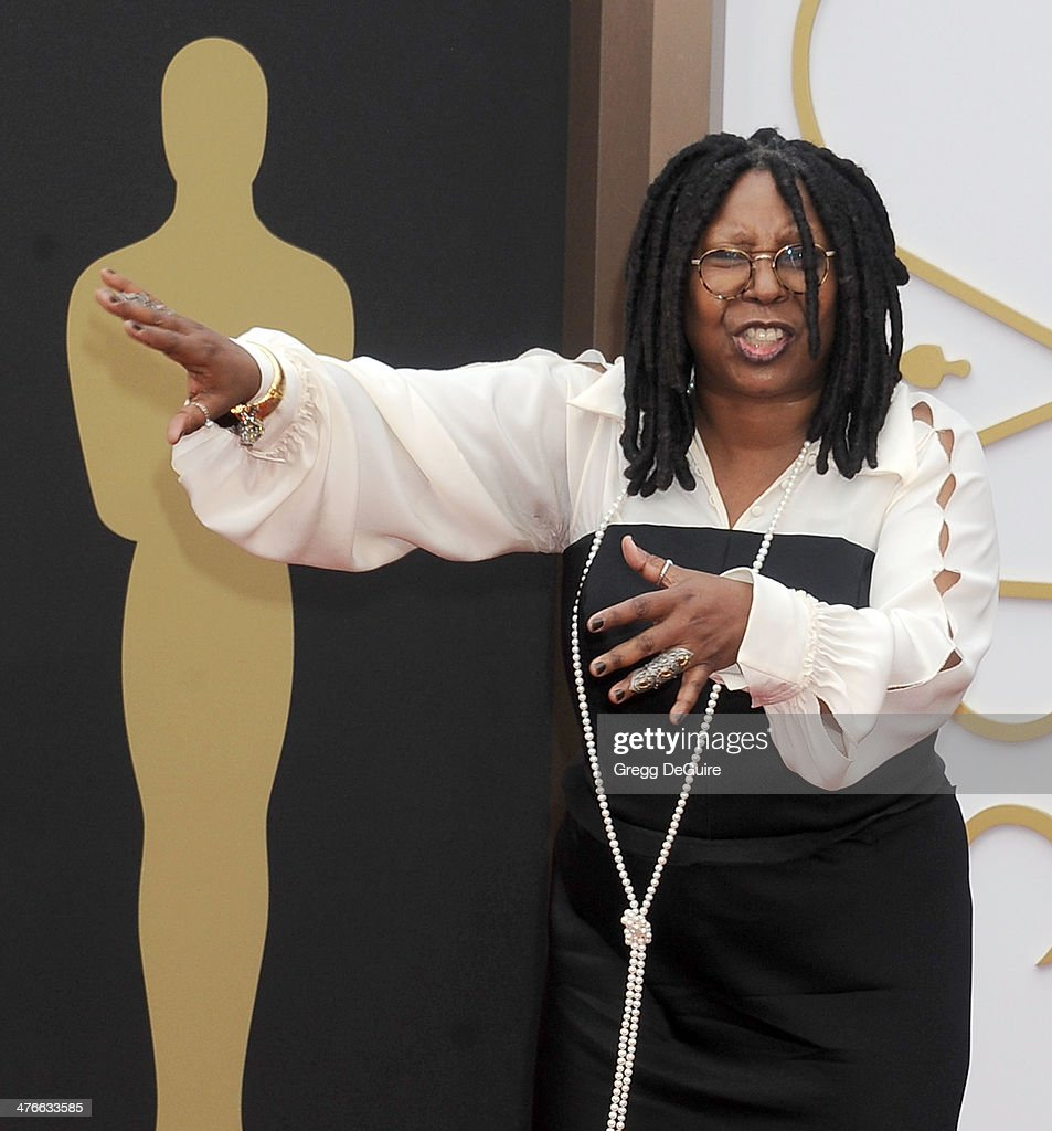 Actress Whoopi Goldberg arrives at the 86th Annual Academy Awards at Hollywood Highland Center on March 2 2014 in Hollywood California