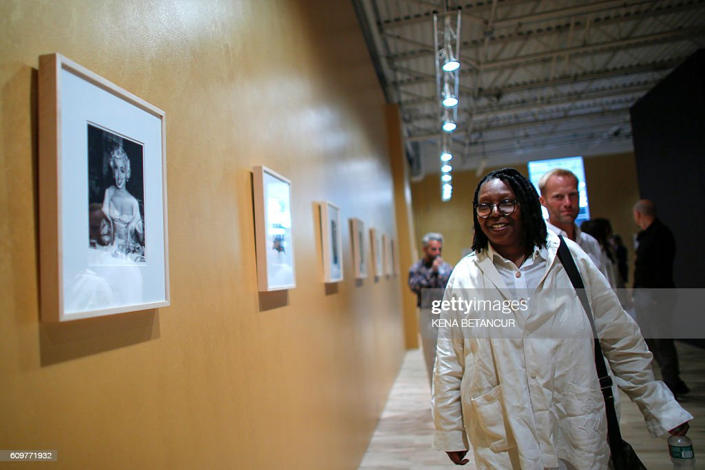 US actress Whoopi Goldberg attends a press preview for Marilyn Monroe's iconic 'Happy Birthday Mr. President' dress and other items at MANA Contemporary Museum in Jersey City, New Jersey on September 22, 2016. Julien's Auctions is offering the sequined dress for auction in Los Angeles on November 17, 2016. / AFP / KENA