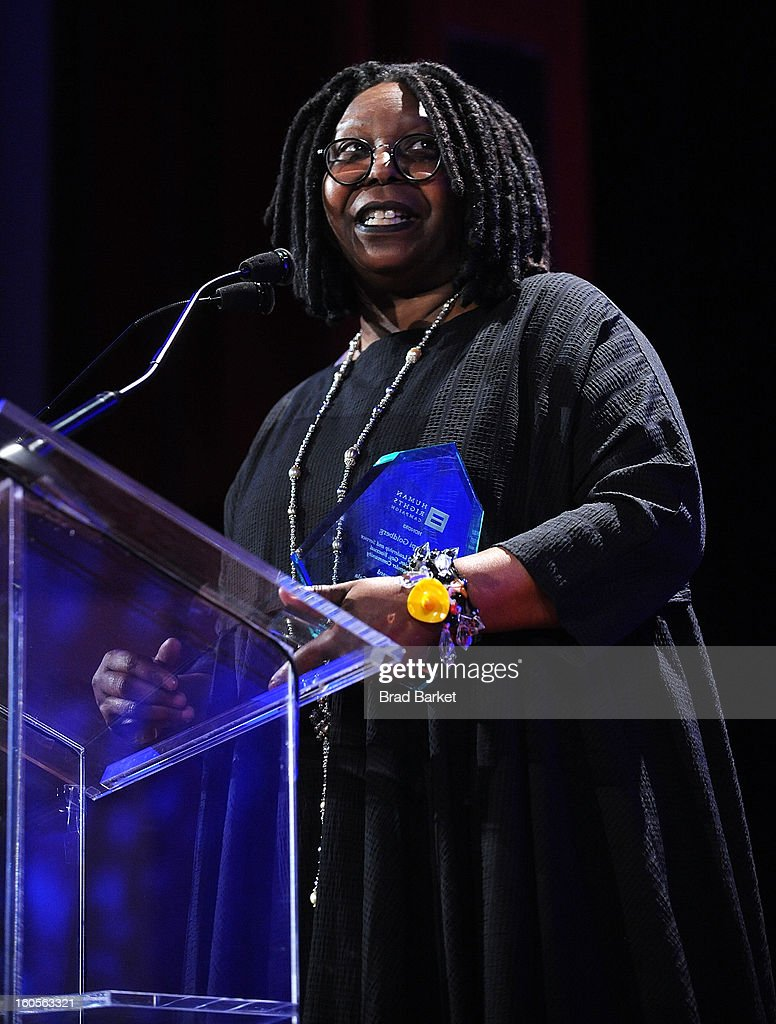 Actress <a gi-track='captionPersonalityLinkClicked' href=/galleries/search?phrase=Whoopi+Goldberg&family=editorial&specificpeople=202463 ng-click='$event.stopPropagation()'>Whoopi Goldberg</a> attends The 2013 Greater New York Human Rights Campaign Gala at The Waldorf=Astoria on February 2, 2013 in New York City.