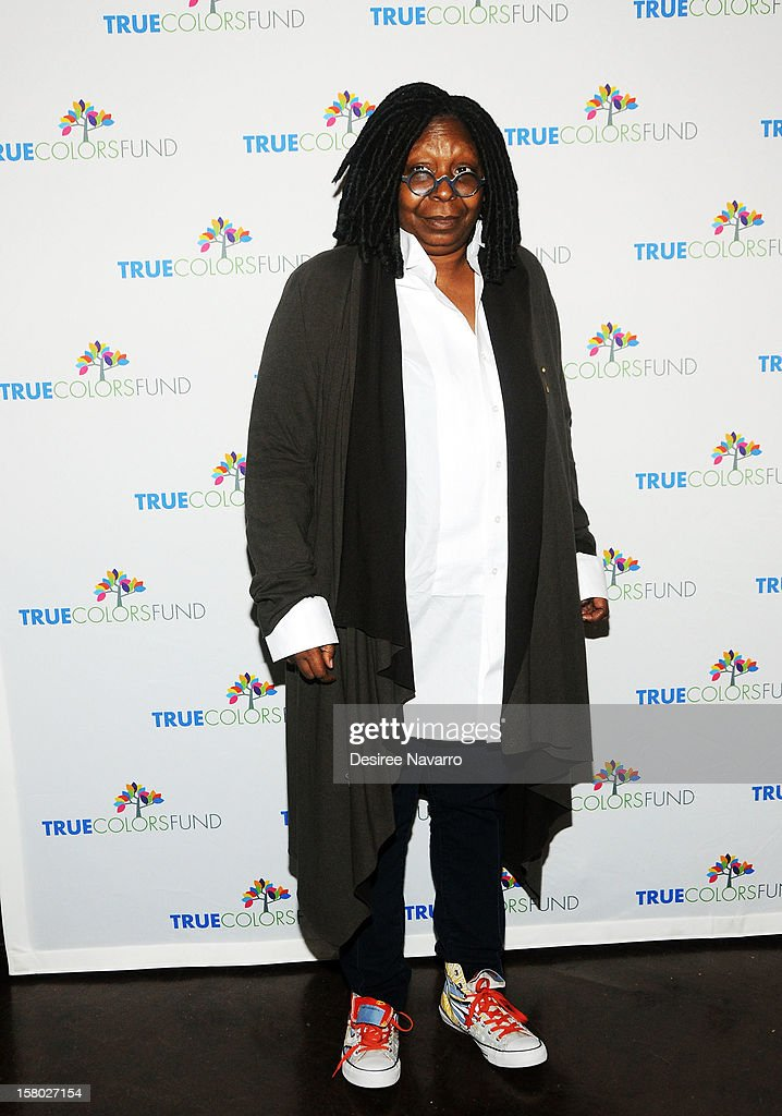 Actress <a gi-track='captionPersonalityLinkClicked' href=/galleries/search?phrase=Whoopi+Goldberg&family=editorial&specificpeople=202463 ng-click='$event.stopPropagation()'>Whoopi Goldberg</a> attends the 2nd annual Cyndi Lauper and Friends: Home For The Holidays at The Beacon Theatre on December 8, 2012 in New York City.
