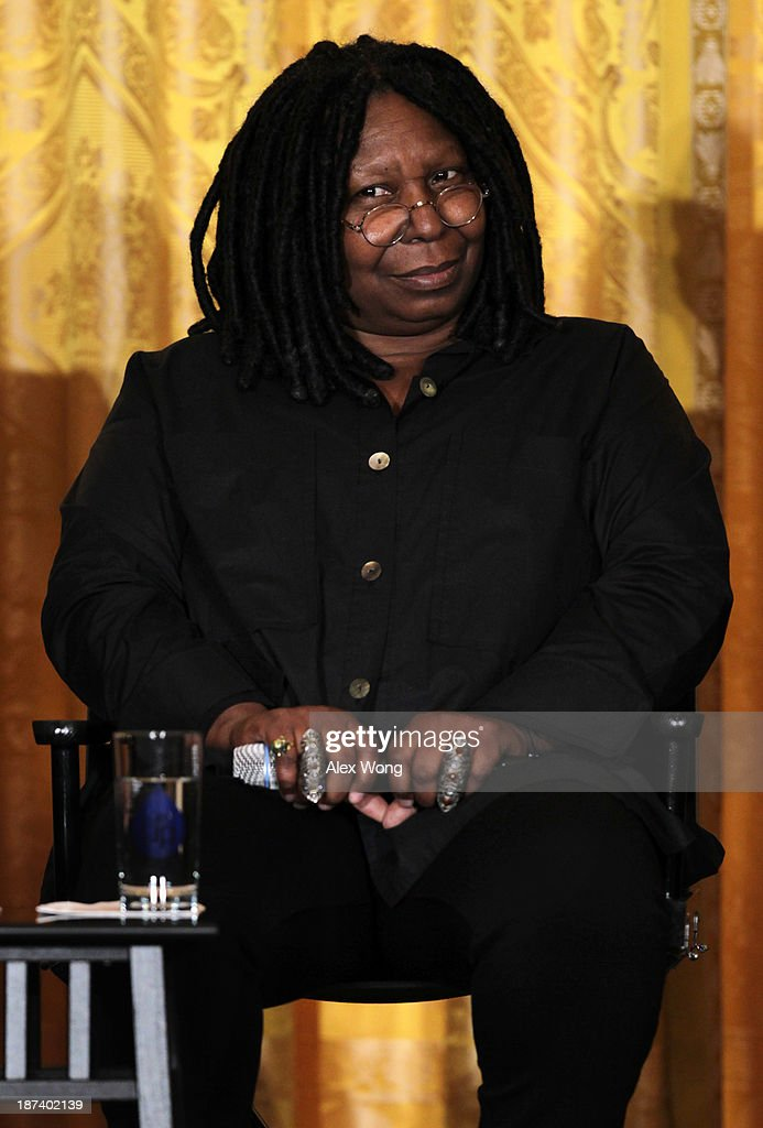 Actress <a gi-track='captionPersonalityLinkClicked' href=/galleries/search?phrase=Whoopi+Goldberg&family=editorial&specificpeople=202463 ng-click='$event.stopPropagation()'>Whoopi Goldberg</a> listens during a workshop for high school students from DC, New York and Boston about careers in film production November 8, 2013 at the East Room of the White House in Washington, DC. Students had an opportunity to hear from leaders in the industry about animation, special effects, makeup, costume, directing, music and sound effects.