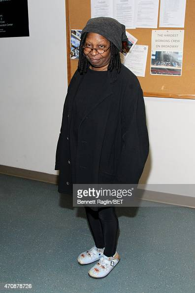 Actress Whoopi Goldberg poses backstage during the BET New York Upfronts on April 23 2015 in New York City