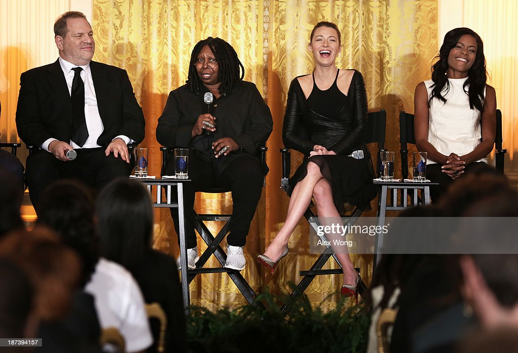 Actress <a gi-track='captionPersonalityLinkClicked' href=/galleries/search?phrase=Whoopi+Goldberg&family=editorial&specificpeople=202463 ng-click='$event.stopPropagation()'>Whoopi Goldberg</a> (2nd L) speaks as (L-R) production executive <a gi-track='captionPersonalityLinkClicked' href=/galleries/search?phrase=Harvey+Weinstein&family=editorial&specificpeople=201749 ng-click='$event.stopPropagation()'>Harvey Weinstein</a>, actress <a gi-track='captionPersonalityLinkClicked' href=/galleries/search?phrase=Blake+Lively&family=editorial&specificpeople=221673 ng-click='$event.stopPropagation()'>Blake Lively</a>, actress <a gi-track='captionPersonalityLinkClicked' href=/galleries/search?phrase=Naomie+Harris&family=editorial&specificpeople=238918 ng-click='$event.stopPropagation()'>Naomie Harris</a> listen during a workshop for high school students from DC, New York and Boston about careers in film production November 8, 2013 at the East Room of the White House in Washington, DC. Students had an opportunity to hear from leaders in the industry about animation, special effects, makeup, costume, directing, music and sound effects.