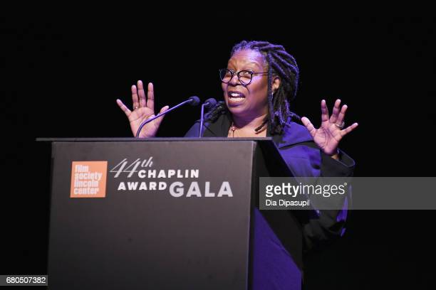 Actress Whoopi Goldberg speaks onstage during the 44th Chaplin Award Gala at David H Koch Theater at Lincoln Center on May 8 2017 in New York City
