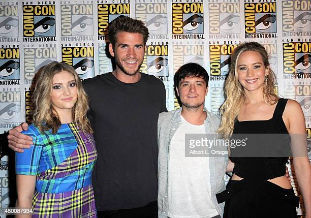 Actress Willow Shields actor Liam Hemsworth actor Josh Hutcherson and actress Jennifer Lawrence attend the 'The Hunger Games Mockingjay Part 2' panel...