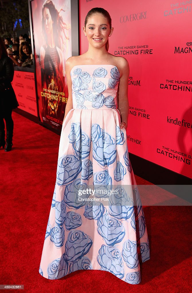 Actress <a gi-track='captionPersonalityLinkClicked' href=/galleries/search?phrase=Willow+Shields&family=editorial&specificpeople=8563210 ng-click='$event.stopPropagation()'>Willow Shields</a> attends premiere of Lionsgate's 'The Hunger Games: Catching Fire' - Red Carpet at Nokia Theatre L.A. Live on November 18, 2013 in Los Angeles, California.