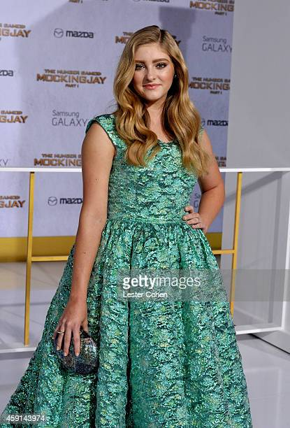 Actress Willow Shields attends 'The Hunger Games Mockingjay Part 1' Los Angeles Premiere at Nokia Theatre LA Live on November 17 2014 in Los Angeles...