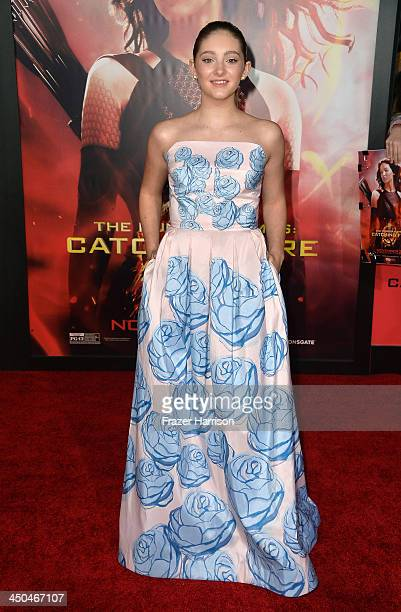 Actress Willow Shields attends the premiere of Lionsgate's 'The Hunger Games Cathching Fire' at Nokia Theatre LA Live on November 18 2013 in Los...
