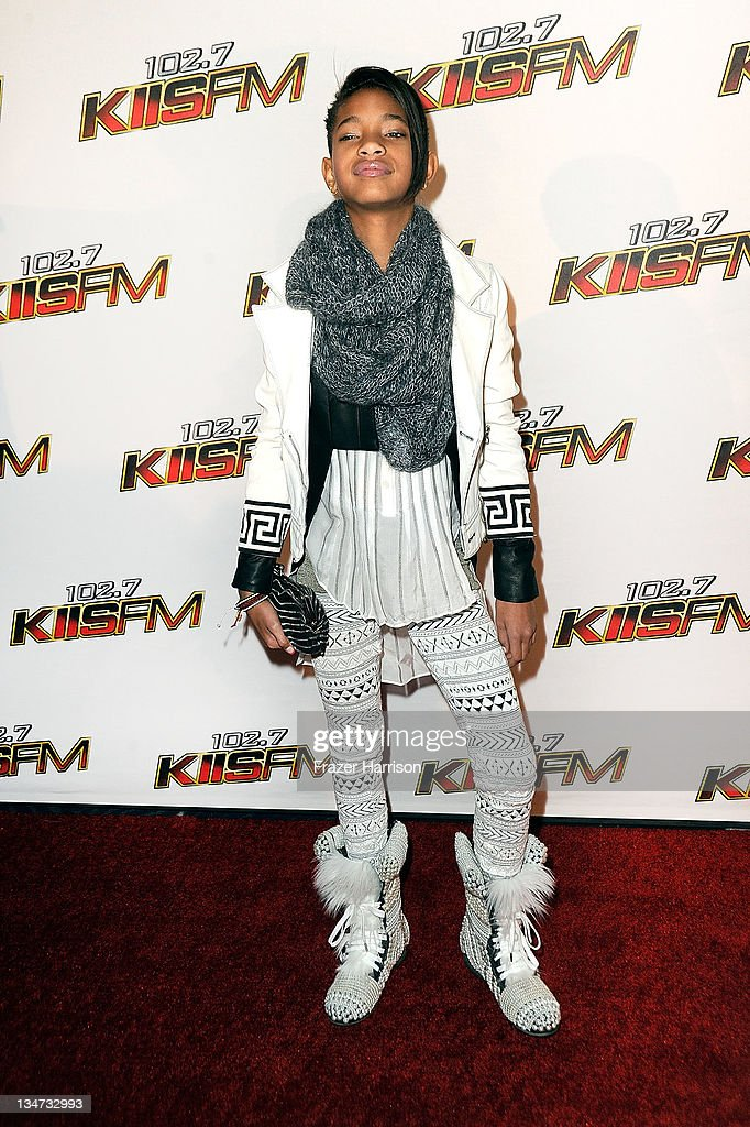 Actress <a gi-track='captionPersonalityLinkClicked' href=/galleries/search?phrase=Willow+Smith&family=editorial&specificpeople=869488 ng-click='$event.stopPropagation()'>Willow Smith</a> arrives at the KIIS FM's Jingle Ball 2011 at Nokia Theatre L.A. Live on December 3, 2011 in Los Angeles, California.
