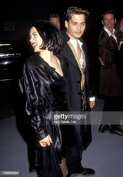 Actress Winona Ryder and actor Johnny Depp attend the 'Edward Scissorhands' Westwood Premiere on December 6 1990 at Avco Center Cinemas in Westwood...