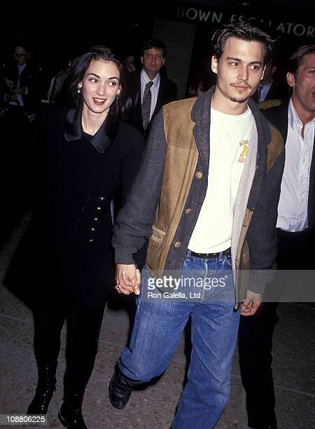 Actress Winona Ryder and actor Johnny Depp attend 'The Silence of the Lambs' Century City Premiere on February 1 1991 at Cineplex Odeon Century Plaza...