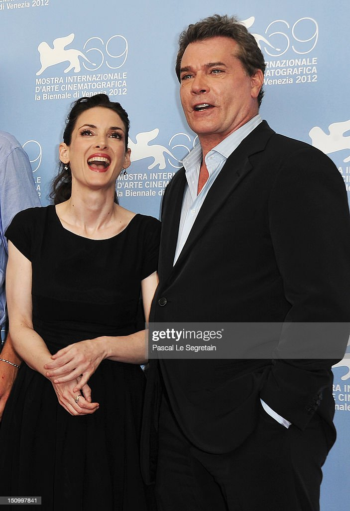 Actress Winona Ryder and actor Ray Liotta attend 'The Iceman' photocall during the 69th Venice Film Festival at the Palazzo del Casino on August 30...