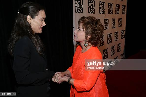 Actress Winona Ryder and Lifetime Achievement Honorree Isabel Allende attend PEN Center USA's 26th Annual Literary Awards Festival honoring Isabel...