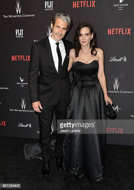 Actress Winona Ryder and Scott Mackinlay Hahn attend the 2017 Weinstein Company and Netflix Golden Globes after party on January 8 2017 in Los...
