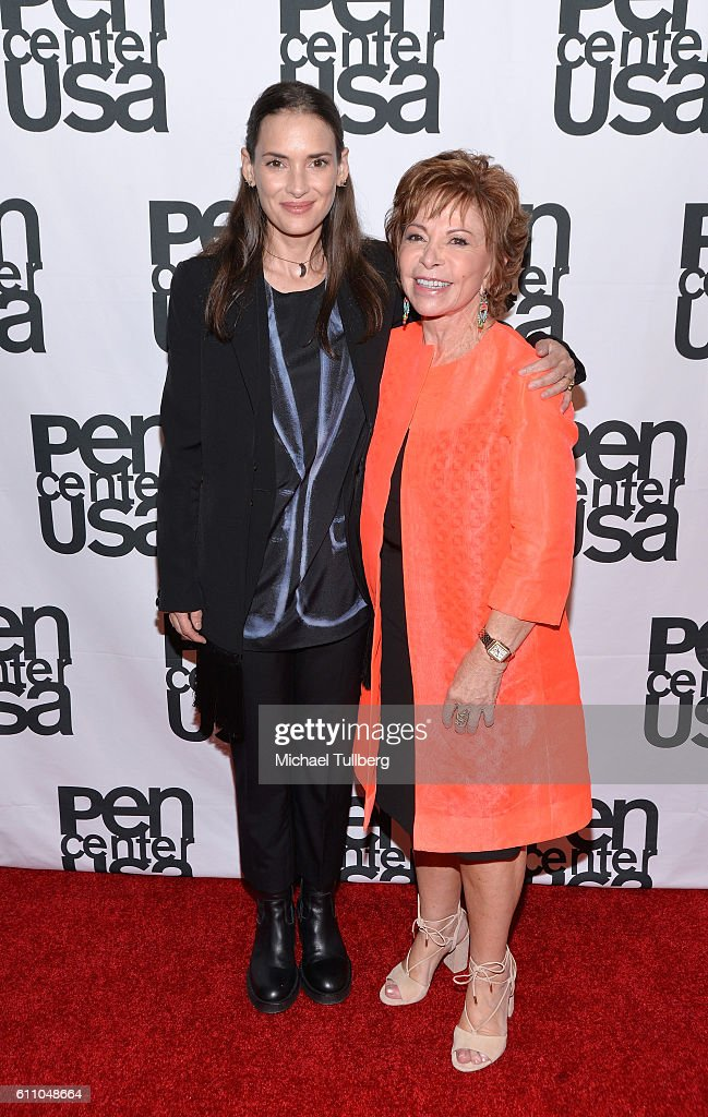 Actress Winona Ryder and writer Isabel Allende attend PEN Center USA's 26th Annual Literary Awards Festival honoring Isabel Allende at the Beverly Wilshire Four Seasons Hotel on September 28, 2016 in Beverly Hills, California.