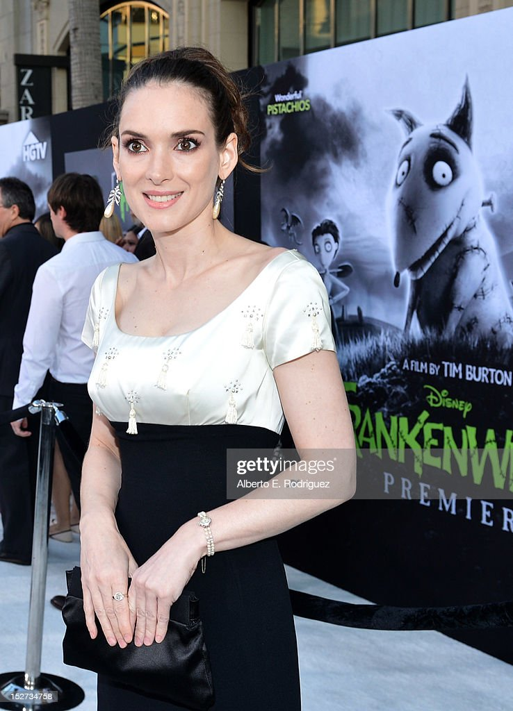 Actress Winona Ryder arrives at Disney's 'Frankenweenie' premiere at the El Capitan Theatre on September 24, 2012 in Hollywood, California.