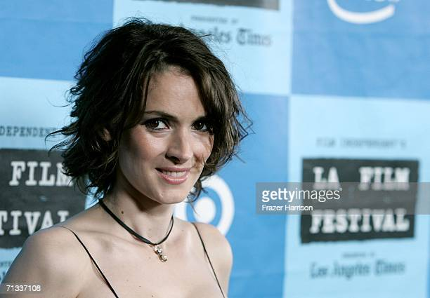 Actress Winona Ryder arrives at the Los Angeles premiere of 'A Scanner Darkly' during Los Angeles Film Festival at the John Anson Ford Amphitheatre...