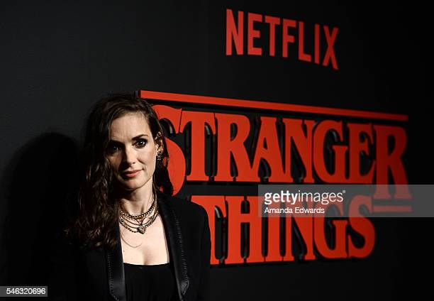 Actress Winona Ryder arrives at the premiere of Netflix's 'Stranger Things' at Mack Sennett Studios on July 11 2016 in Los Angeles California
