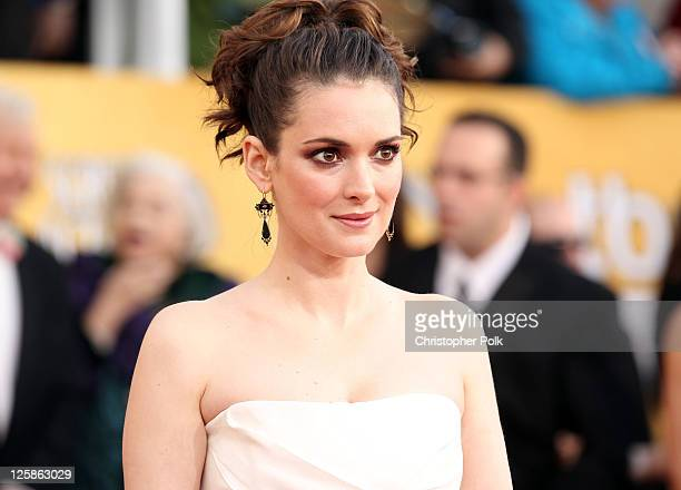 Actress Winona Ryder arrives at the TNT/TBS broadcast of the 17th Annual Screen Actors Guild Awards held at The Shrine Auditorium on January 30 2011...