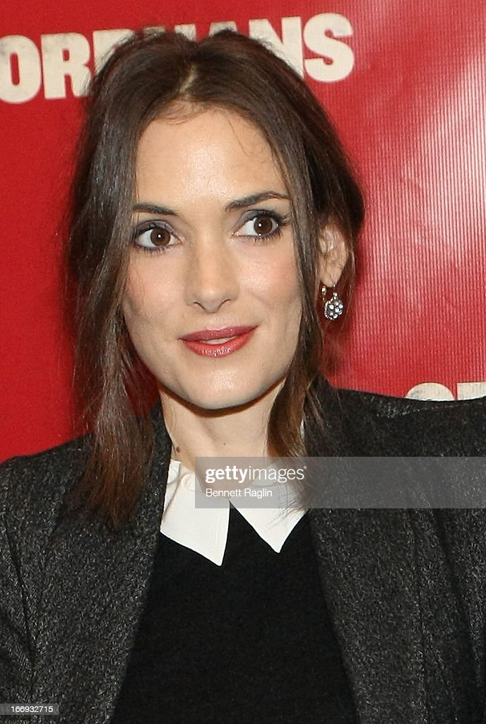 Actress Winona Ryder attends the 'Orphans' Broadway Opening Night at the Gerald Schoenfeld Theatre on April 18, 2013 in New York City.