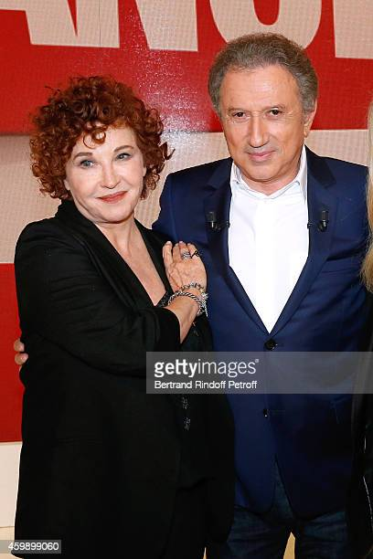 Actress writer and strip cartoon autor Marlene Jobert and presenter of the show Michel Drucker attend the 'Vivement Dimanche' French TV Show special...