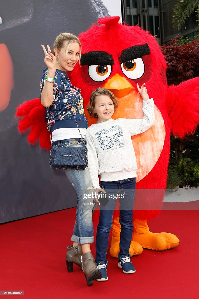 Actress Xenia Seeberg and her son Philip-Elias Martinek attend the Berlin premiere of the film 'Angry Birds - Der Film' at CineStar on May 1, 2016 in Berlin, Germany.