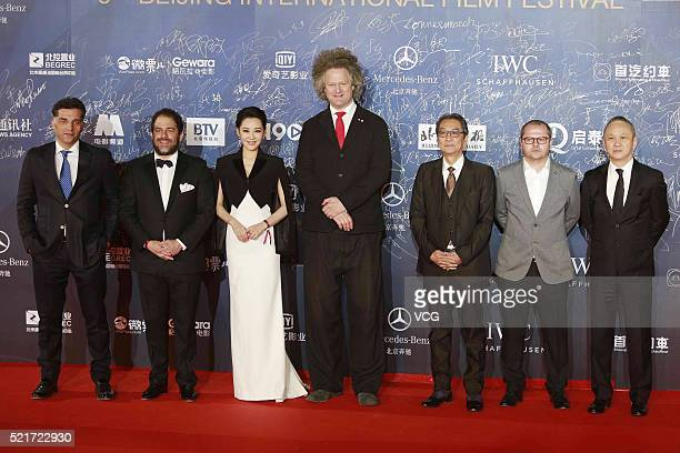 Actress Xu Qing poses with judges on the red carpet of the 6th Beijing International Film Festival on April 16 2016 in Beijing China