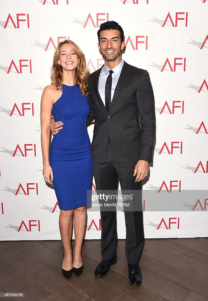 Actress Yael Grobglas (L) and actor Justin Baldoni attend the 15th Annual AFI Awards at Four Seasons Hotel Los Angeles at Beverly Hills on January 9, 2015 in Beverly Hills, California.