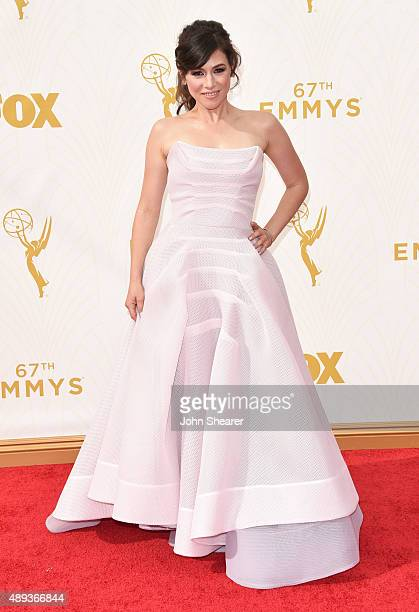 Actress Yael Stone attends the 67th Annual Primetime Emmy Awards at Microsoft Theater on September 20 2015 in Los Angeles California